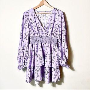 Revolve | Keepsake Mini Tiered Lilac Floral Dress